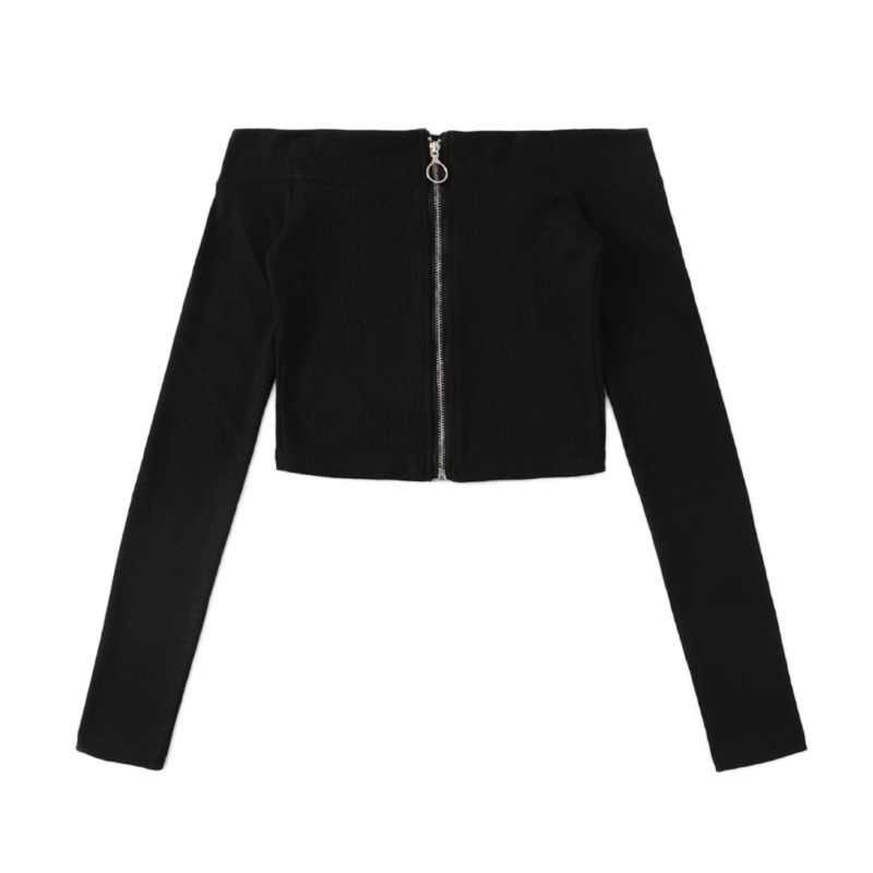 be78428ce77cb ROMWE Off The Shoulder Tops For Women Black Zip Up Tee Shirt Femme 2019  Autumn Slim