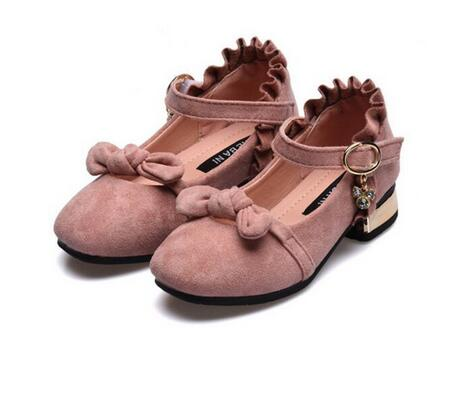 Sweet childrens high heels dress 2018 new suede girls bow Princess shoes childrens shoes girls 4-12 girls shoes