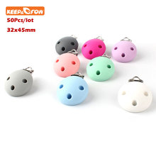 Keep&grow 50Pcs Round Baby Pacifier Clip Soother Teether Perle Silicone Safe Holder Saliva Towel Support Anti Fall Clips Newborn