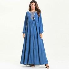 Woman Plus Size Muslim Long Dress Sleeve Crewneck Embroidered Female Party Kaftan Dubai Islamic Clothing Blue Maxi
