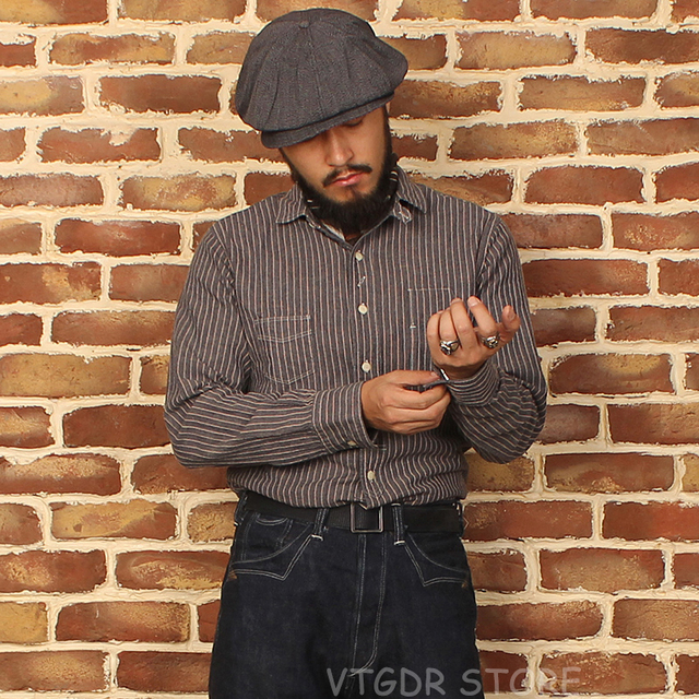 65723cd5d7c Bronson 1900s Cotton   Linen Shirt Vintage Men s Stripes Chambray Work  Shirts