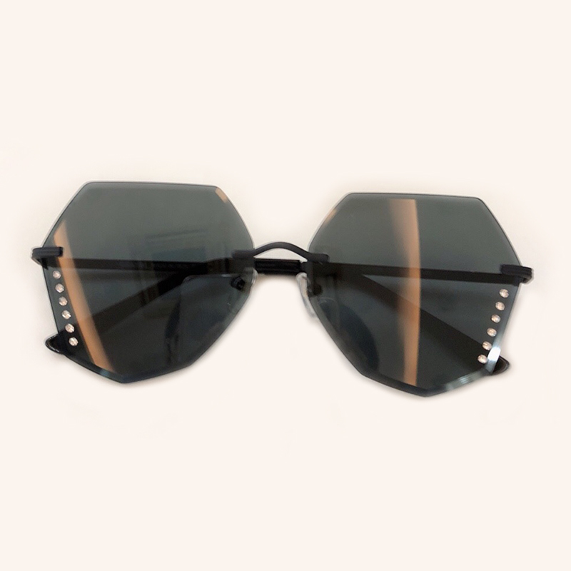 high quality women rimless sunglasses 2019 fashion luxury brand designer alloy frame shades oval. Black Bedroom Furniture Sets. Home Design Ideas
