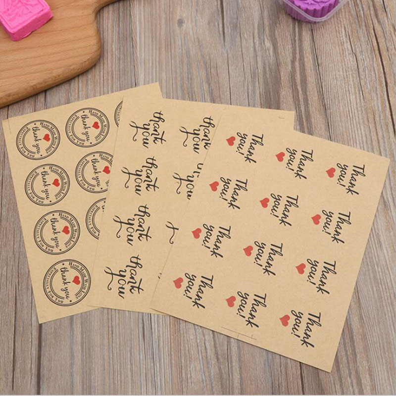 120pcs /10 Sheets Round Label Thankyou Sticker Kraft Paper Cake Baking Decoration Sealing Stickers Children Stationery Stickers