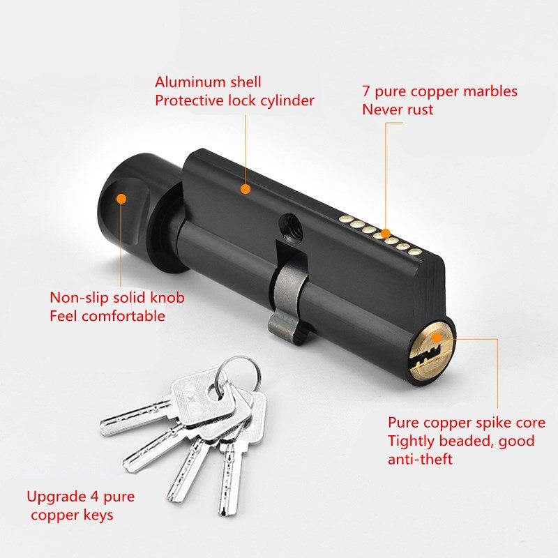 Universal Aluminium Interior Door Lock Set Black Cylinder Security Locks Split Silent Bedroom Lock Door Handle Door Hardware