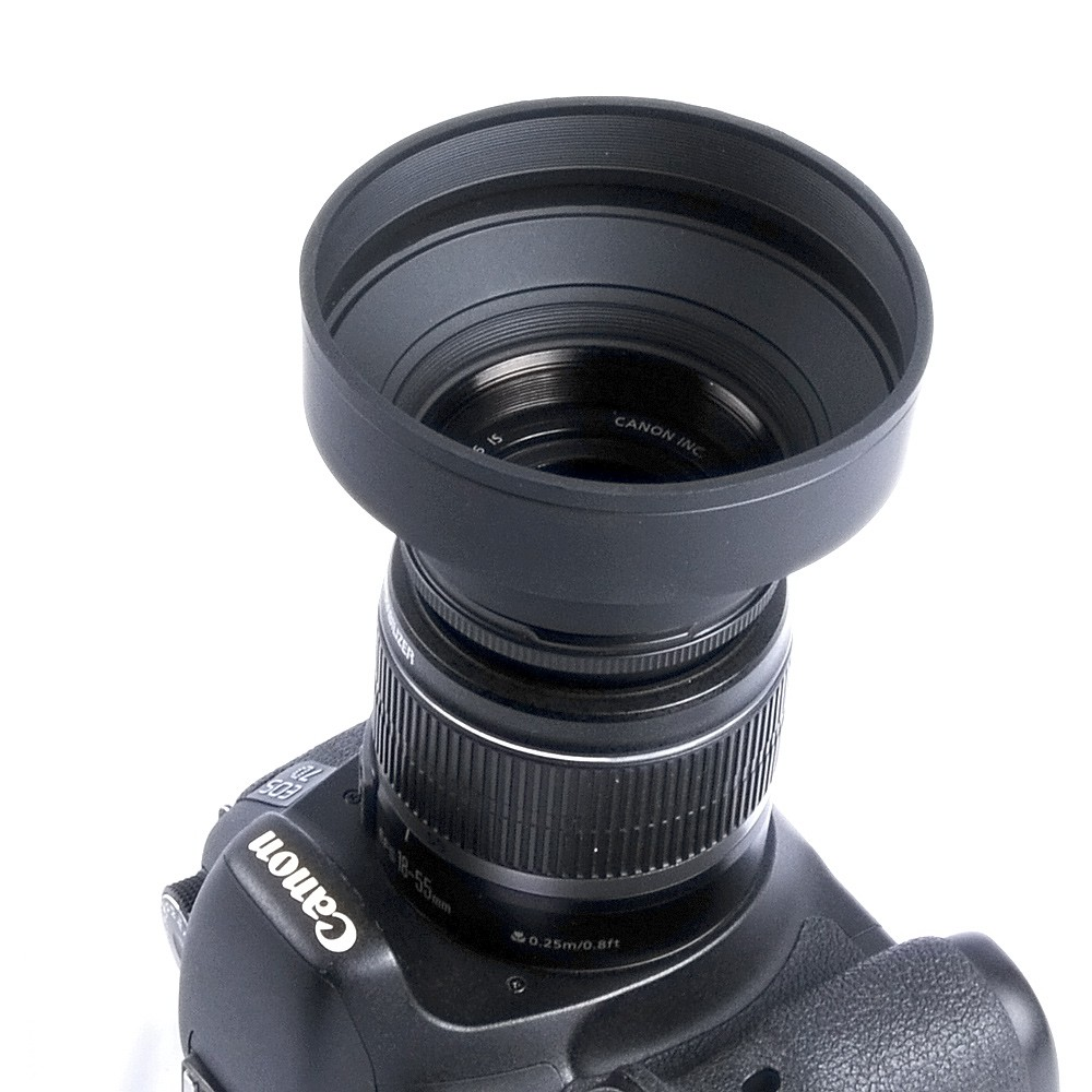 52/55/<font><b>58</b></font>/62/67/72/77mm Universal 3-Stage Rubber Collapsible <font><b>Lens</b></font> <font><b>Hood</b></font> For Canon Nikon Sony Pentax Olympus DSLR Camera image