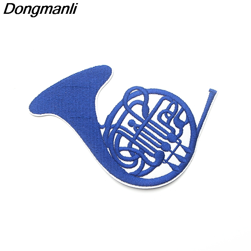 P3473 Dongmanli How I Met Your Mother TV Show Blue French Horn Embroidered Anime Sew Iron on Applique Badge for Clothes