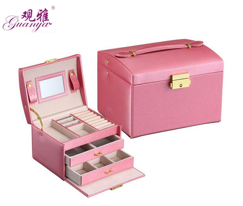 Guanya high quality three layer Crocodile pattern pu leather jewelry box princess Storage Box girl gift