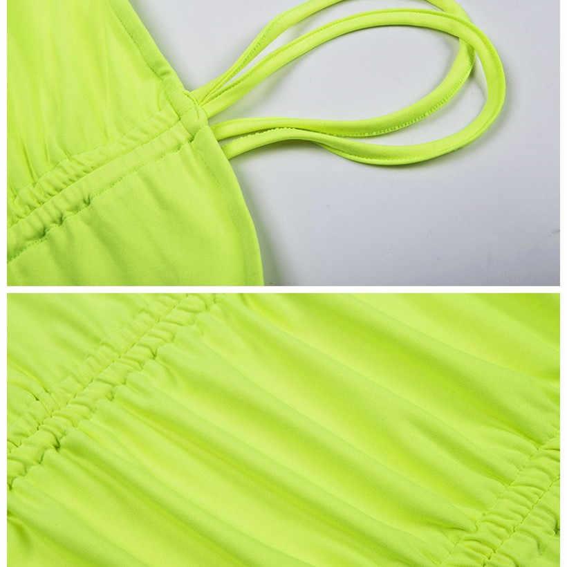 Cami платье женское 2019 летнее сексуальное неоновое платье на тонких бретельках Плиссированное однотонное платье для пляжа и вечеринки мини облегающее платье
