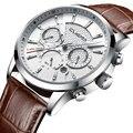 CUENA, мужские часы, секундомер, дата, светящиеся стрелки, натуральная кожа, 30 м, водонепроницаемые часы, мужские кварцевые часы, мужские модные...