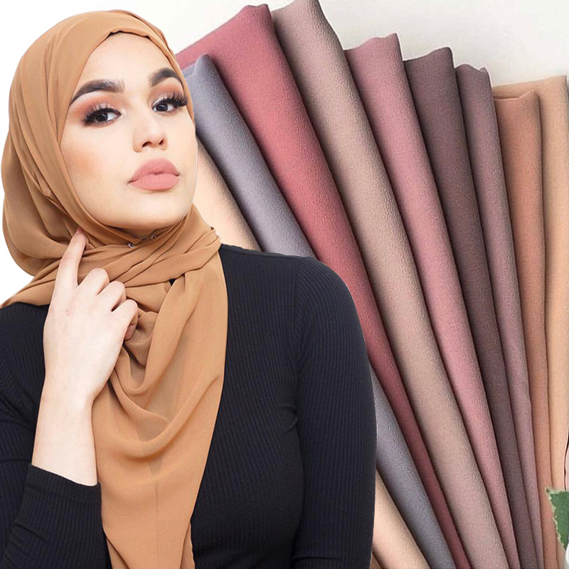 Plain Bubble Chiffon Hijab Shawl Scarf Women 2019 Solid Color Long Shawls and Wraps Muslim Hijabs Scarves Ladies Foulard Femme(China)