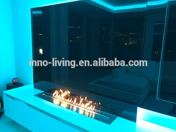 48 Inch Long 304# Stainless Steel Intelligent Remote Control Silver Or Black  Electric Bio Kamin Fireplace