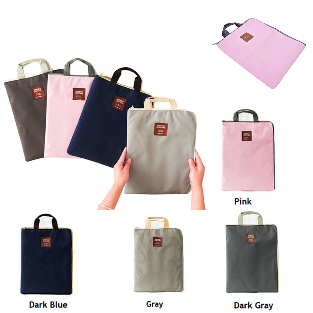 1Pc Canvas Handbag A4 File Folder Organizer Bag Document Stationery Phone Storage Pouch Holder Zipper Bag