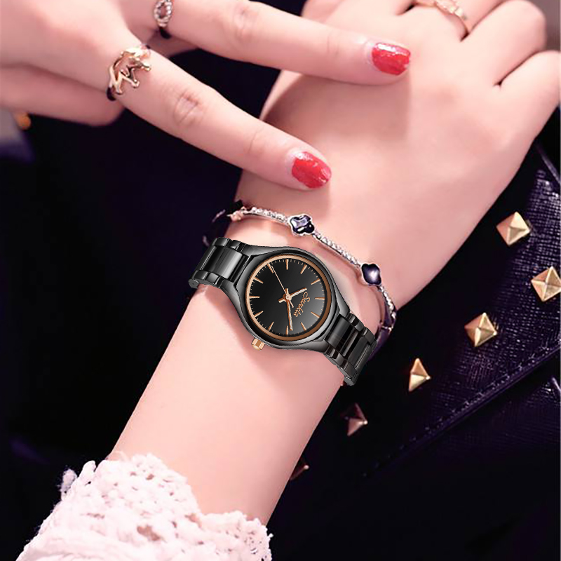 SUNKTA Fashion Casual Simple Rose Gold Full Black Ceramic Women Watches Waterproof Quartz Watch Girl Dress Bracelet Clock