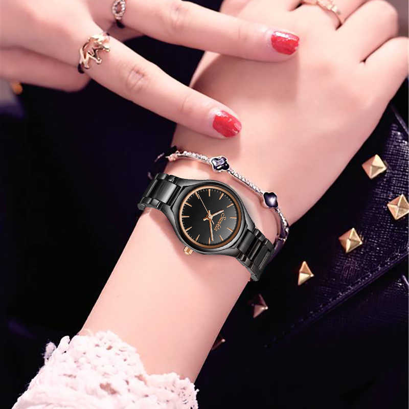 SUNKTA Fashion Casual Simple Rose Gold Full Black Ceramic Women Watches Waterproof Quartz Watch Women Girl Dress Bracelet+Box