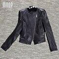 Черный натуральная кожа куртки женщин 100% Овчины мотоцикл пальто куртки весте cuir настоящие pour femme jaqueta де couro LT1041