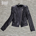 Black genuine leather jackets women 100% Lambskin motorcycle jacket coat veste cuir veritable pour femme jaqueta de couro LT1041