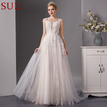 SuLi SL-6086 spaghetti straps lace beads wedding dress 2019
