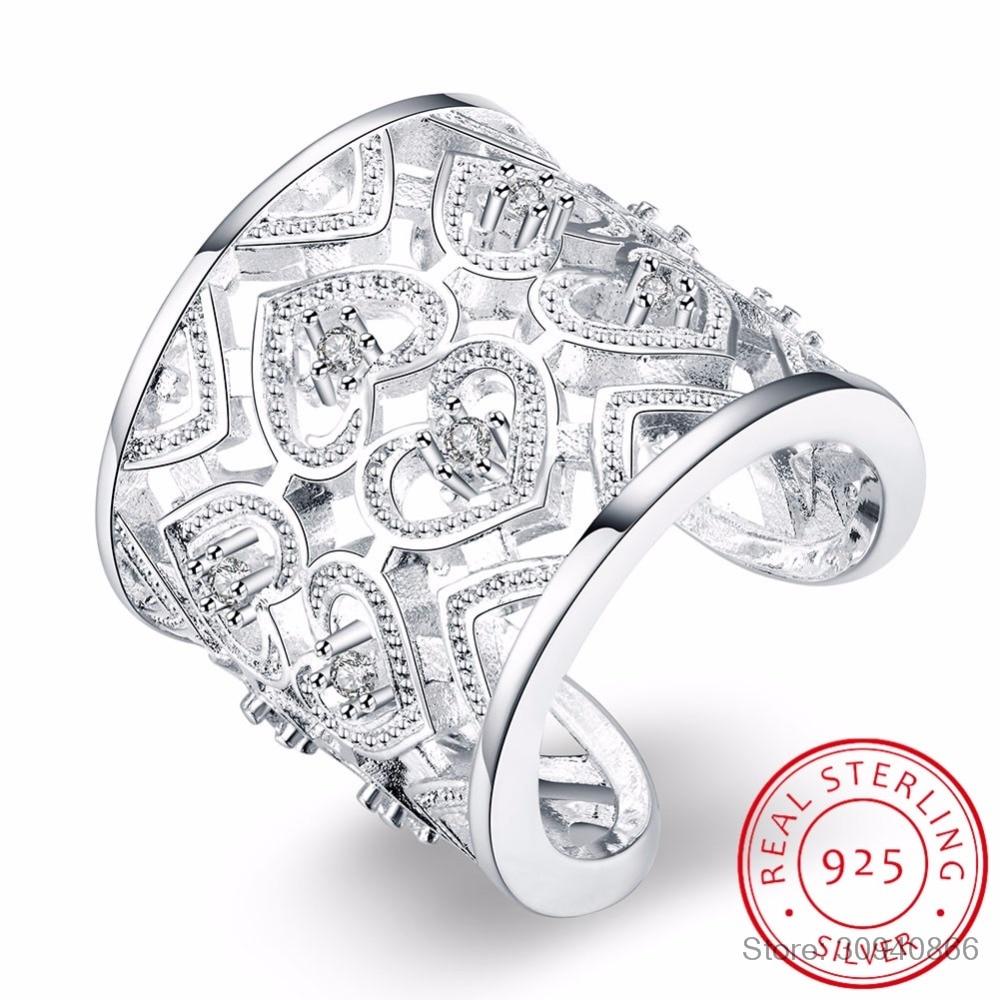 LEKANI Free Shipping Silver 925 Ring Fashion Big Net Weaving 925 Silver Jewelry Hollow Heart Ring Women&Men Gift Finger Rings