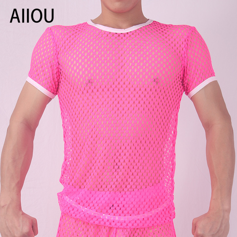 Aiiou mens undershirt mesh see through shirt 구멍 게이 셔츠를 통해 보임 sissy transparent wrestling singlet men 섹시한 속옷 image