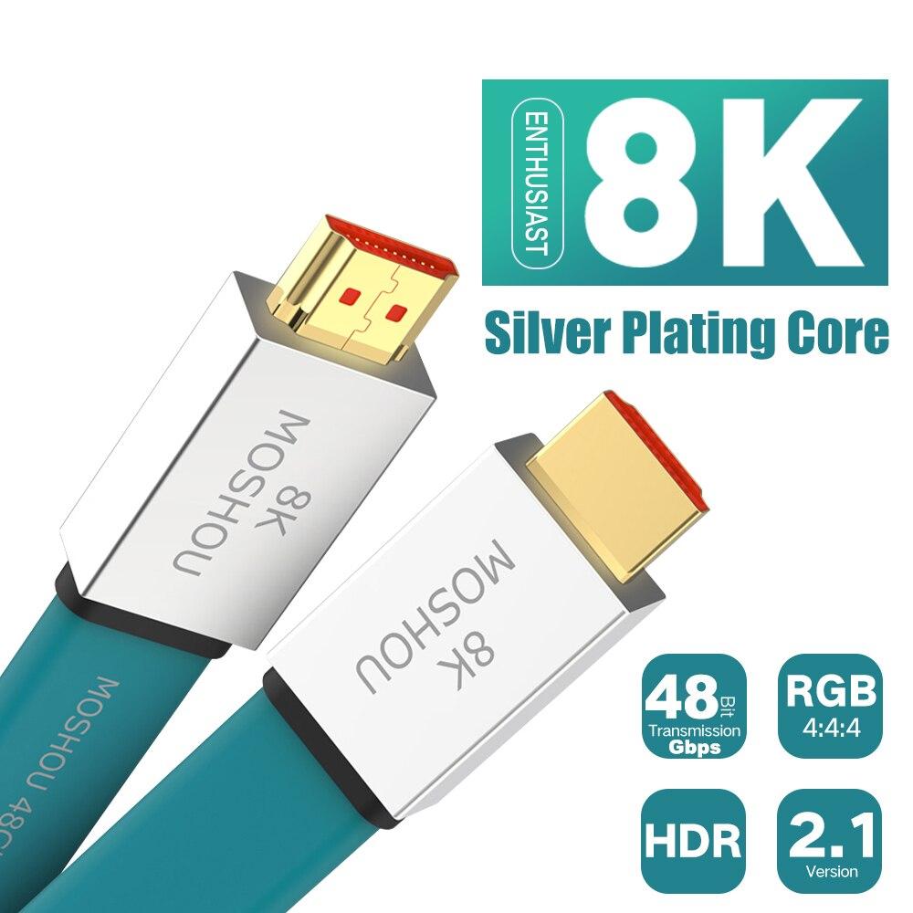 Passionné HDMI 2.1 câble ultra-hd (UHD) 8K @ 120Hz HDMI 2.1 câble 48Gbs mâle à mâle Audio vidéo câble 1 M 2 M 5 M 10 M 15 M HDR 4:4:4