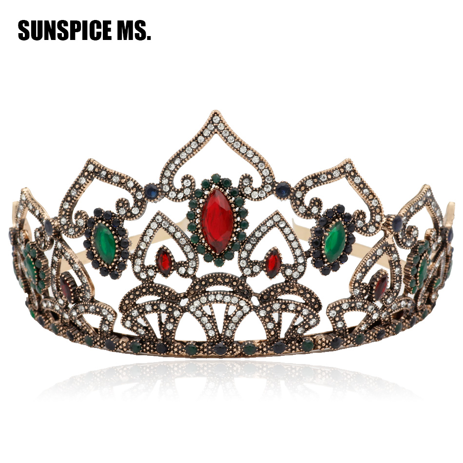 Elegent Europ Women Hollow Heart Royal Vintage Tiaras Antique Round Resin Big Crown Indian Ethnic Wedding Princess Hair Jewelry
