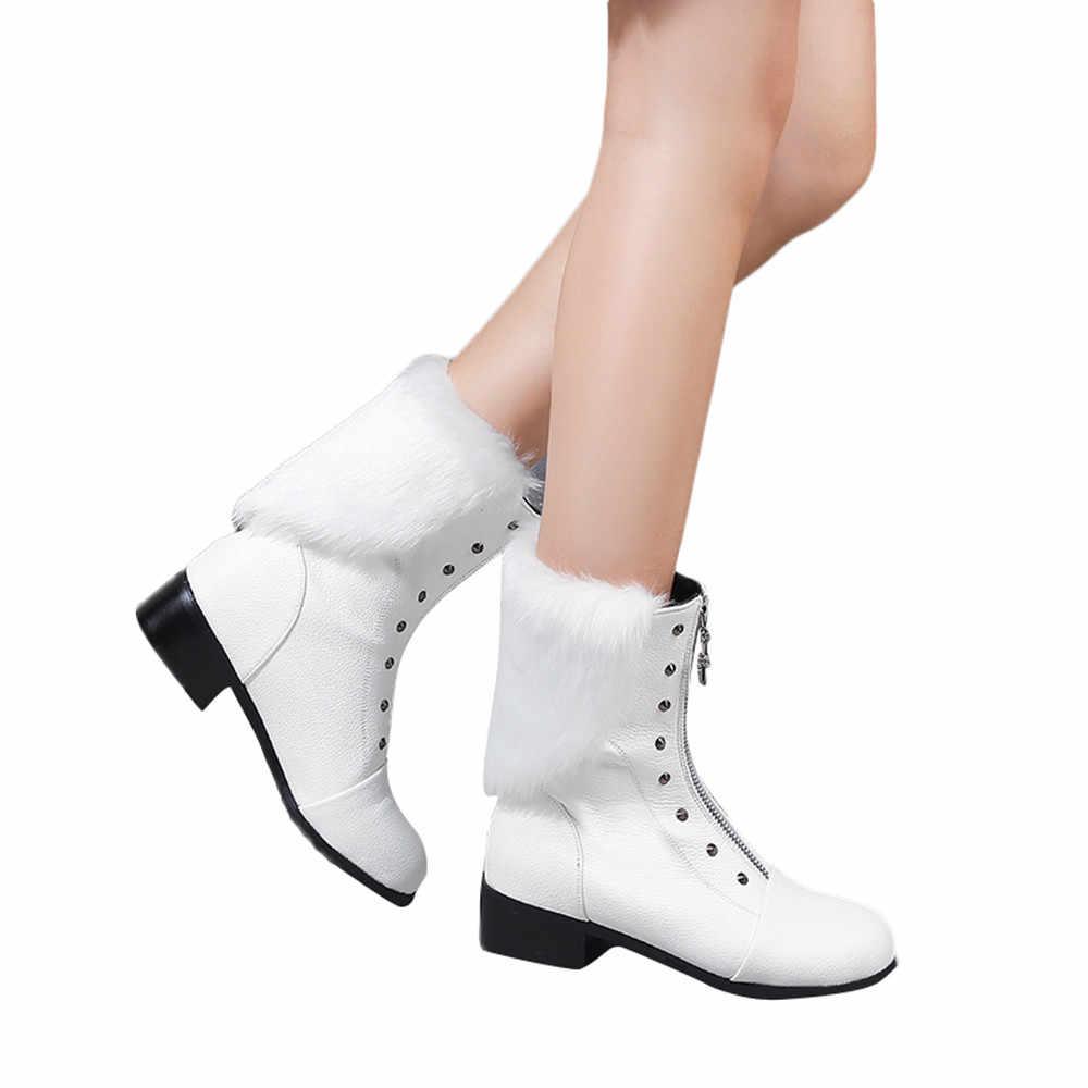 ผู้หญิงฤดูหนาวรองเท้าสั้นหนังสั้น Boot Rivets ด้านหน้าซิปรองเท้า warm fur plush พื้นรองเท้ารองเท้า Botines Mujer 2018