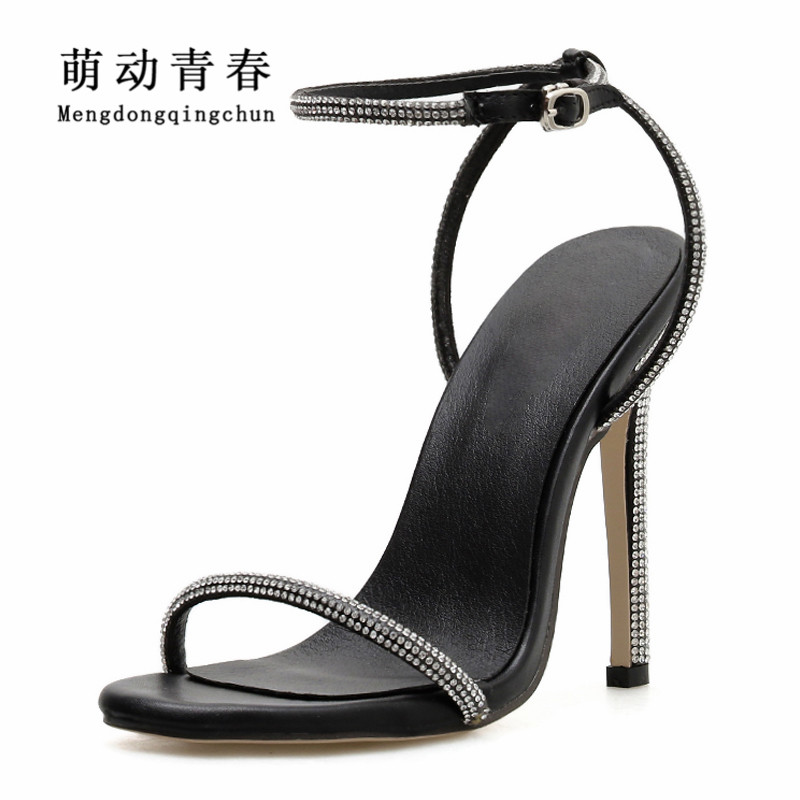 2019 Summer Women Pumps Sexy Crystal Rhinestones High Heeled Sandals Zapatos Open Toe Buckle Strap Dress 11cm <font><b>Heels</b></font> Women Pumps image