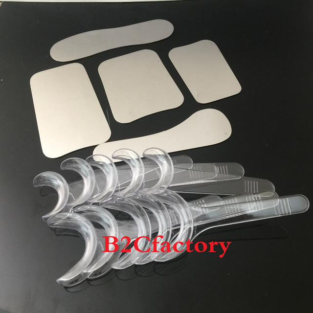 5pcs Dental Orthodontic Photographic Mirror Stainless steel Autoclavebale + 10PCS T-Shape Intraoral Cheek Lip Retractor Opener