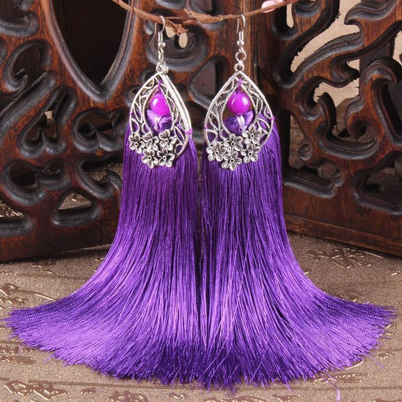 Gules Ethnic Jewelry Handmade Earrings Manual Silver Long Silk Thread Tassels Eardrop Fashion Dangler Women Accessories