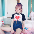 """Princesa lolita doce BOBON21 T-shirts verão de atualização impressão """"Coração Partido"""" todo-o-match pescoço curto Camisetas T1378"""