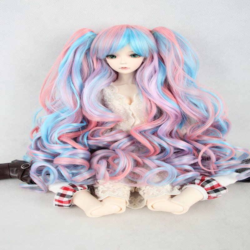 1/3 BJD doll wigs multi color wigs -  wavy hair Tiger clip ponytail wig COS in stock 24inch multi color body wavy lace wigs