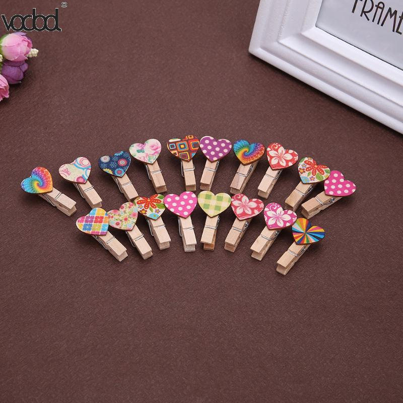 Clips 50pcs Love Heart Wooden Clip Office Accessories Photo Paper Clip Photo Paper Binder Stationery Supplies Horse Desk School Clips