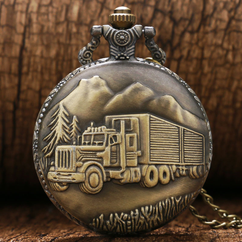 Antique Retro Bronze Car Truck Pattern Quartz Pocket Watch Necklace Pendant Gift With Chain P445