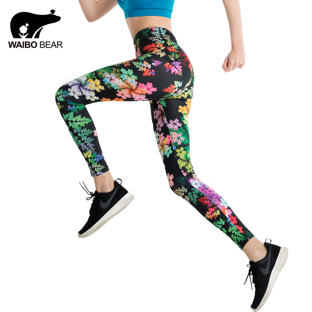 Для женщин Цветочный Принт тренировки лоскутное Леггинсы для женщин пикантные контраст Цвет Сращивание высокие эластичные Фитнес Леггинсы Карандаш Брюки для девочек waibo медведь