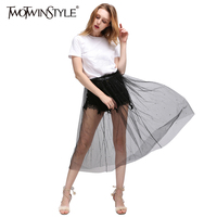 TWOTWINSTYLE 2017 קיץ נשים גבוהה מותן קו טול שקוף ארוכות חצאיות קפלים Midi בגדים מזדמנים קוריאני אופנה חדשים