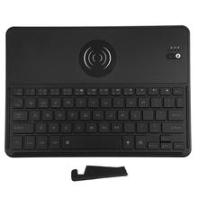 Bluetooth 3 0 Keyboard with QI Wireless Charging Function 7 Color Backlit Rechargeable Keypad for laptops