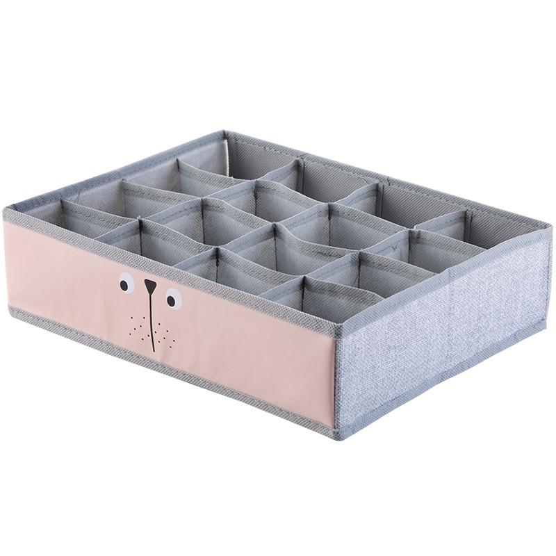 Cloth Underwear Storage Box Panties Plaid Finishing Box Organizer Hosehold Desktop Compartment Bra Socks Storage Container9