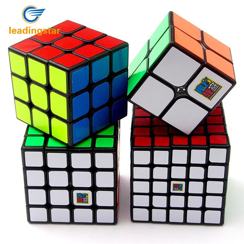 Leadingstar 4Pcs Brain Teaser Magic Speed Cubes 2nd order 3rd order Fourth order Stickers Speed Cubes Gift Set Black