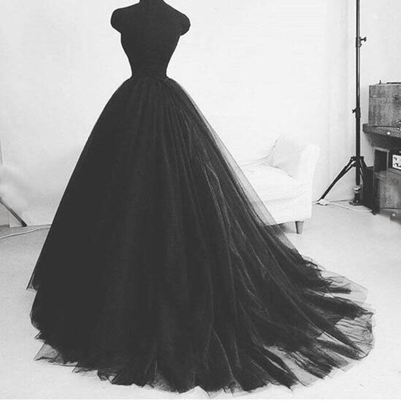 Noir doux Tulle longueur de plancher formelle robe de bal jupes personnalisé plissé mode de mariage Vintage longues jupes élégant Tulle jupon-in Jupes from Mode Femme et Accessoires    1