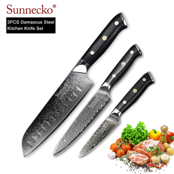 SUNNECKO 3PCS Kitchen Knives Set Utility Chef Knife Japanese Damascus VG10 Super Steel Core G10 Handle Chef Cooking Cutter Tools