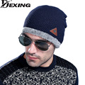 [Dexing]Winter New Arrivals Fish Stripe Pattern Men Wool Hat Knit Outdoors Labeling Warm Increase Knitting Eyelid Cap skully