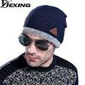 [Dexing]Winter New Arrivals Fish Stripe Pattern Men Wool Hat Knit Outdoors Labeling Warm Increase Knitting Eyelid Cap skully
