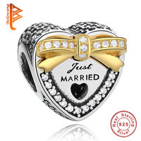 Hotsale Silver Color Just Married Gold Bow Crystal Charm Beads Fit Bracelet Necklace Fashion Charms Diy