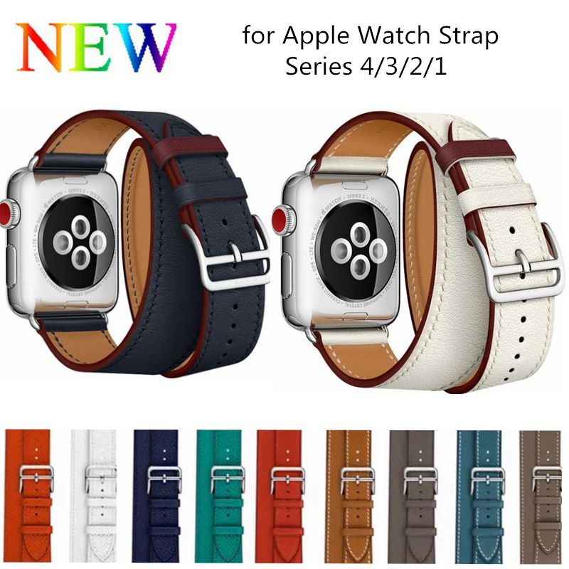 Double Tour band for apple watch series 4 3 2 1 strap for iwatch belt high quality genuine Leather loop 38mm/40mm /42mm/44mm leather strap for apple watch 38 42mm 40 44mm single double tour genuine replacement leather band for iwatch series 1 2 3 4