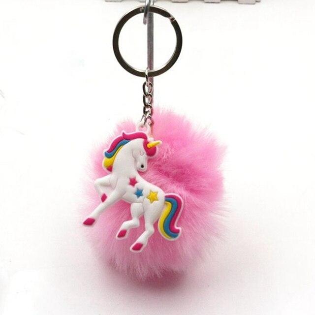 Unicórnio Artificial keychain pompons pele bola pompom titular porte clef chaveiro saco chaveiro carro das mulheres fofo