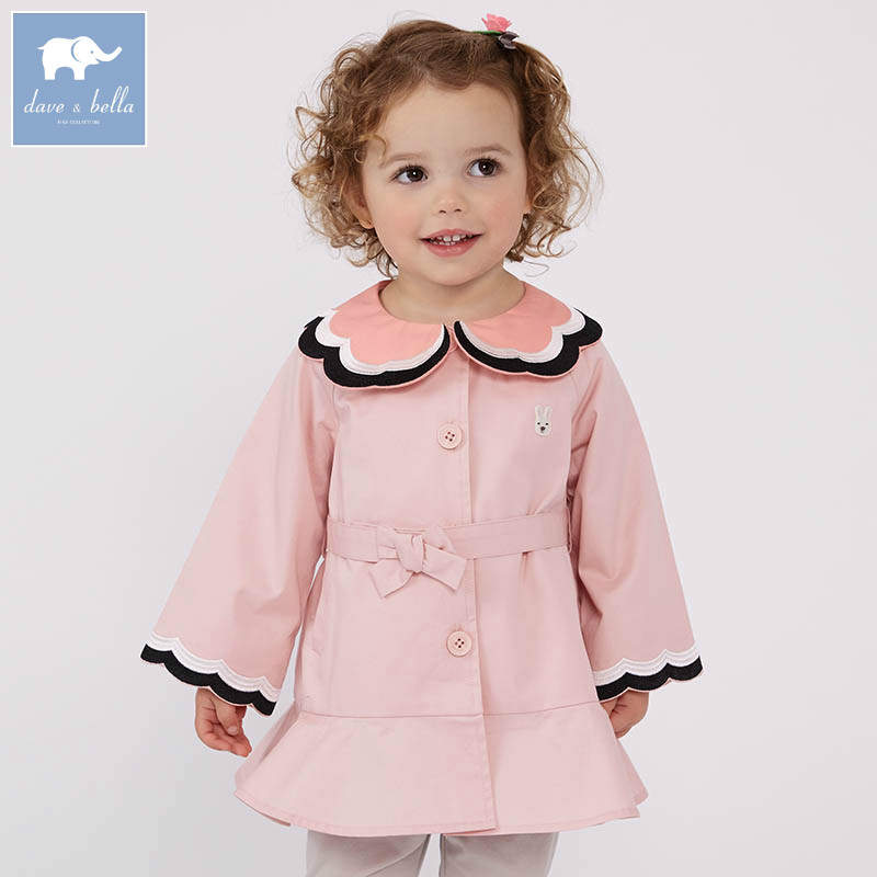 DBZ7447 dave bella spring infant baby girl fashion coats children cute top kids high quality clothes