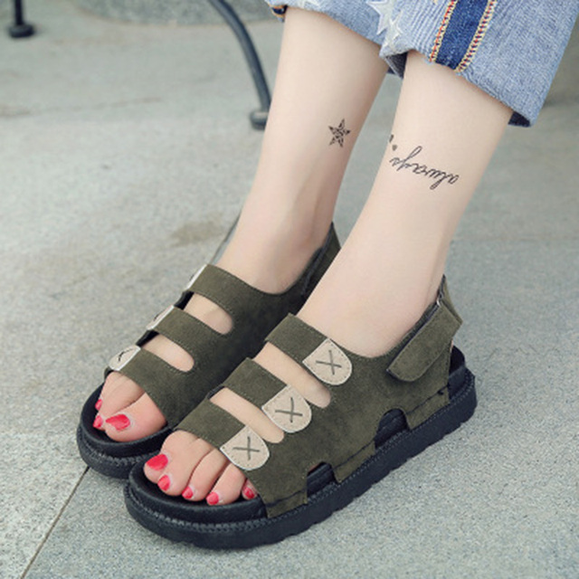 2019 New Summer Non-slip Thick Suede Shoes Ladies British Style Gladiator Sandals Student Casual Flat Women Beach Sandals NO.105