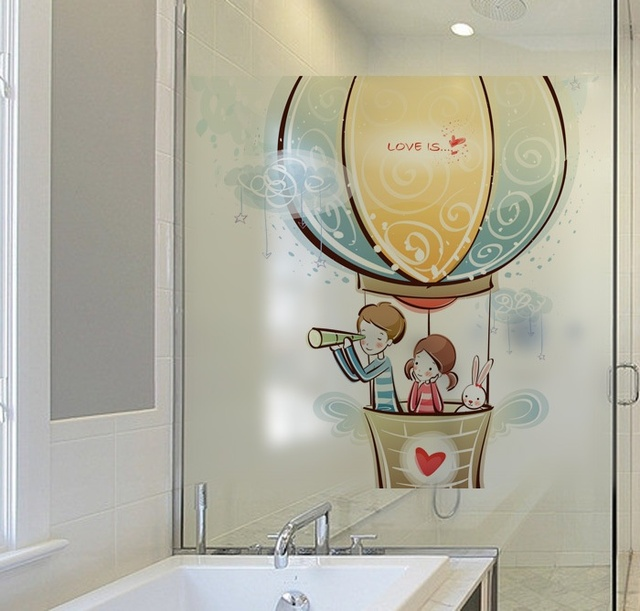 Cartoon Lovers Wall Stickers Frosted Glass Door Decal Romantic Hot Air  Balloon Bathroom Window Sticker Home Decor