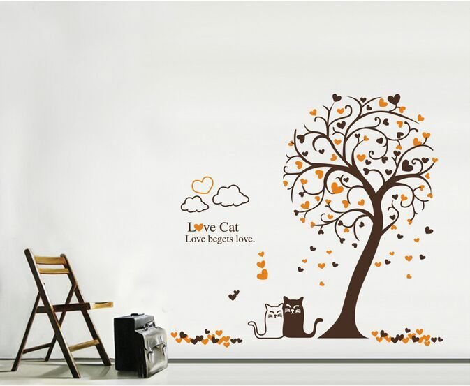 1 Set Love Cat Cartoon Tree Wall Sticker Vinyl Removable Art Mural Wall Decals For Home