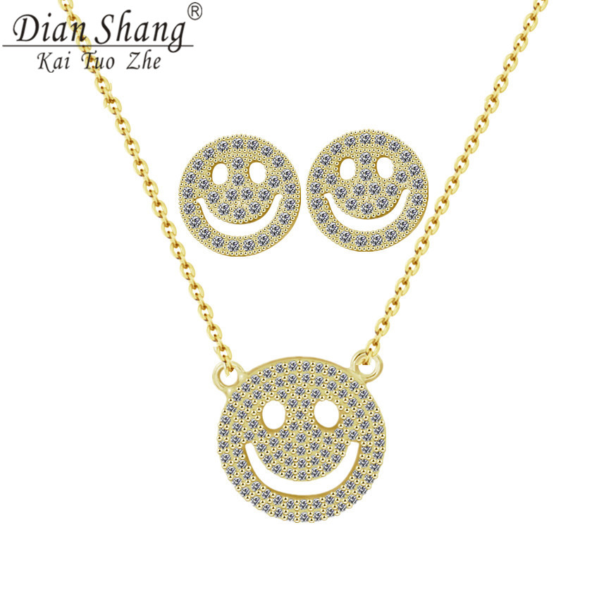 DIANSHANGKAITUOZHE Crystal Smiling Face Expression Copper Necklace Earrings Women Men Friendship Gift Mood Jewellery Sets